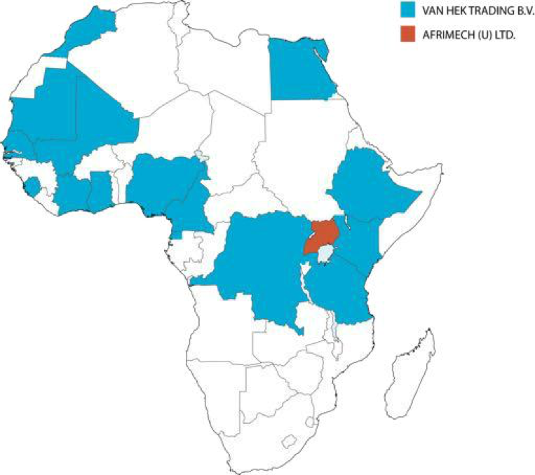 Distribution footprint across the Africa continent